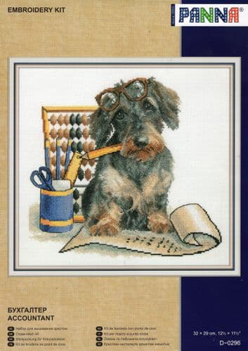 """""""Accountant Pup"""" Counted Cross Stitch Kit"""