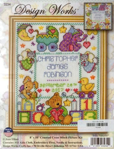 """""""Baby Birth sampler"""" Counted Cross Stitch Kit"""