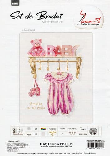 """""""Baby Girl Birth Sampler"""" Counted Cross Stitch Kit by Luca S"""