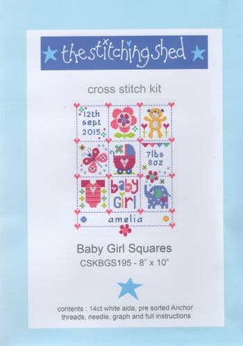 """Baby Girl Squares"" Counted Cross Stitch Kit"