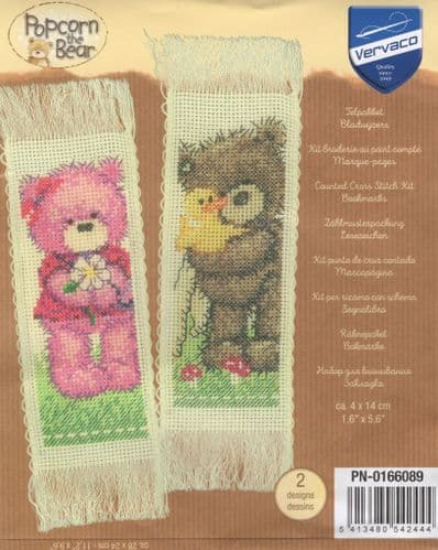 """Popcorn and Brie Bookmark"" Counted Cross Stitch Kit 2 Designs"