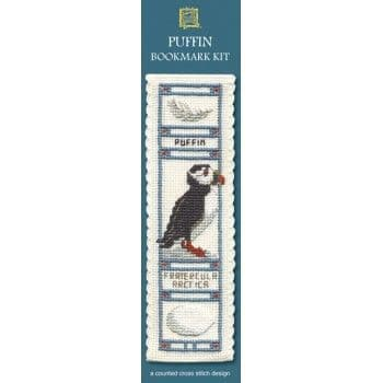 """Puffin"" Counted Cross Stitch Bookmark Kit"