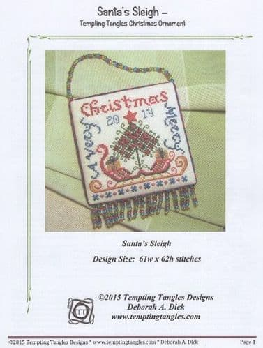 """Santa's Sleigh"" counted cross-stitch chart"