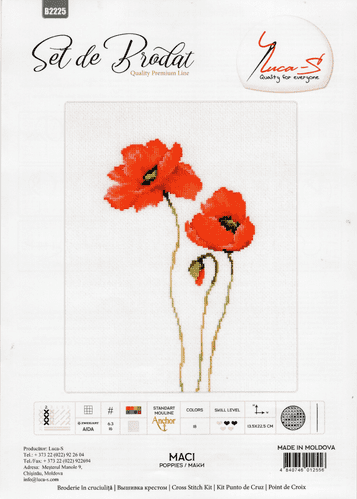 """""""Three Poppies"""" Counted Cross Stitch Kit by Luca S"""