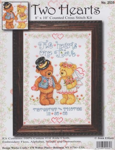 """Two Hearts"" Counted Cross Stitch Kit"