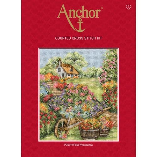 Floral Wheelbarrow Counted Cross Stitch Kit