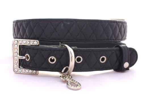 Diamond Quilted Leather Collars (Black)