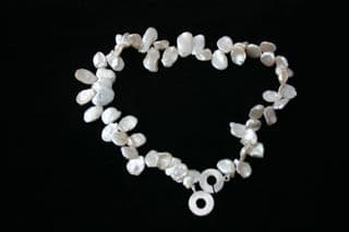 """16"""" White Keishi Freshwater Pearl Necklace and 925 Sterling Silver Clasp"""