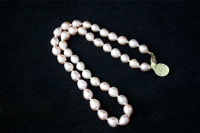 """17"""" 8mm 14CT GOLD PINK DROP FRESHWATER PEARL NECKLACE"""