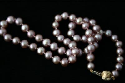 """17""""9CT GOLD 7mm PINK ROUND FRESHWATER PEARL NECKLACE"""