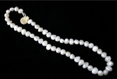 """17"""" WHITE BAROQUE FRESHWATER PEARL NECKLACE &925 SILVER"""