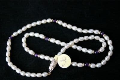 17'' WHITE PEARL & AMETHYST NECKLACE & 9CT GOLD NEW £30