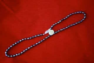 5mm Black Oval Freshwater Cultured Pearl Necklace with Silver Clasp