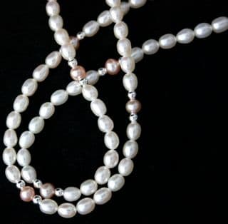 5mm White and Pink Oval Freshwater Cultured Pearl Necklace with 925 Silver beads and Clasp
