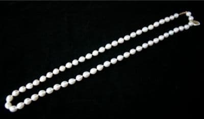 65cm 9CT GOLD WHITE 8mm DROP FRESHWATER PEARL NECKLACE