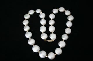"""Coin """"Style"""" White Freshwater Cultured Pearl Necklace with 9ct Gold Beads"""
