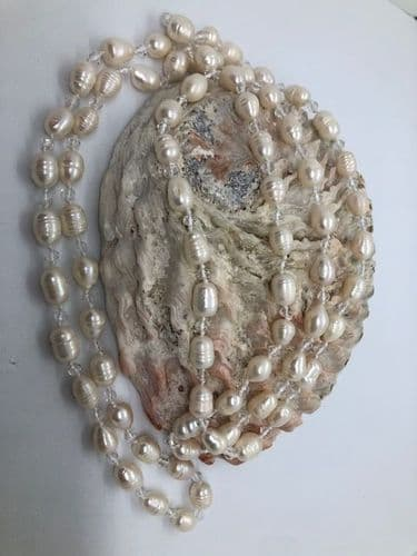 Long Freshwater Pearl and Glass Bead Necklace