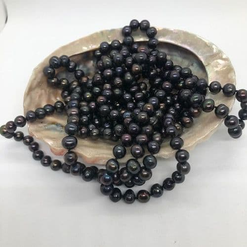 """Opulent Peacock Pearl 100"""" Long necklace"""