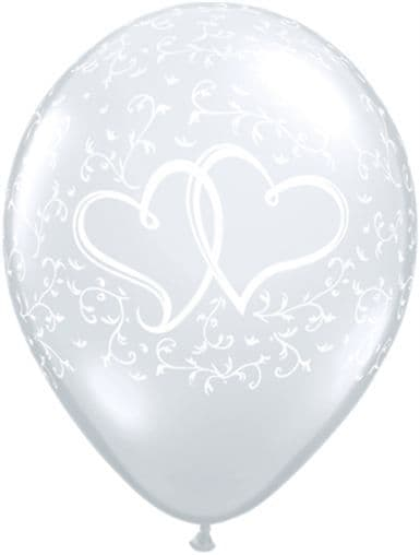 """11"""" Diamond Clear Entwined Hearts Latex Balloons x 50"""
