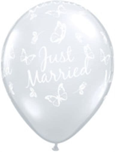 """11"""" Diamond Clear Just Married Butterflies-A-Round Latex Balloons x 50"""
