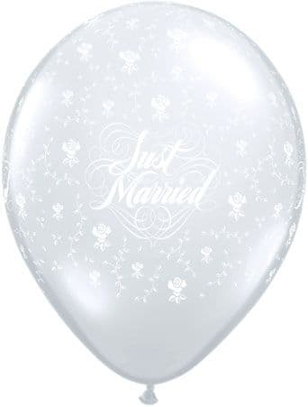 """11"""" Diamond Clear Just Married Latex Balloons x 25"""