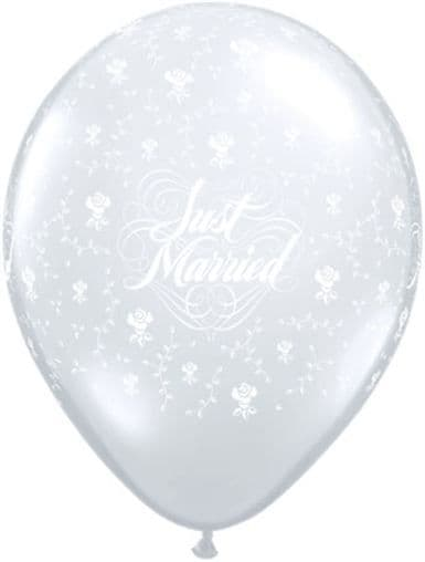 """11"""" Diamond Clear Just Married Latex Balloons x 50"""