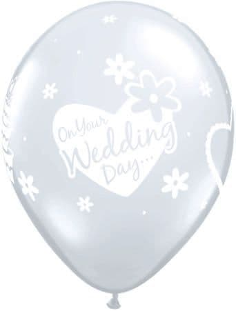 """11"""" Diamond Clear On Your Wedding Day Latex Balloons x 25"""