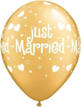 """11"""" Gold Just Married Latex Balloons x 25"""