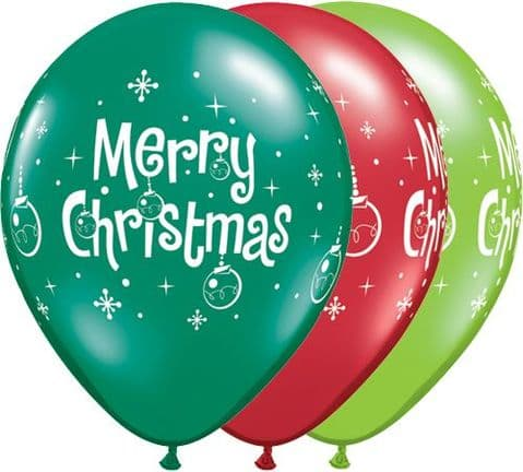 11'' Merry Christmas Ornaments assorted latex X 25