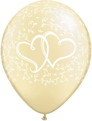 """11"""" Pearl Ivory  Entwined Hearts Latex Balloons x 25"""