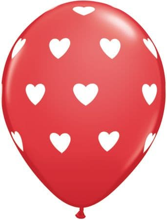 """11"""" Red and White Big Hearts Balloons x 50"""