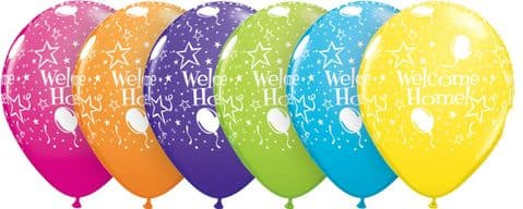 """11"""" Tropcal Assorted Welcome Home! Stars-A-Round Latex Balloons x 25"""