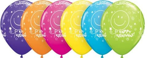 """11"""" Tropical Assorted Retirement! Smile Face-A-Round Latex Balloons x 25"""