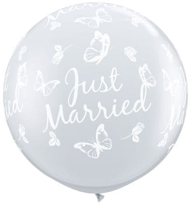 3FT Diamond Clear  Just Married Butterfly Latex Balloons x 2