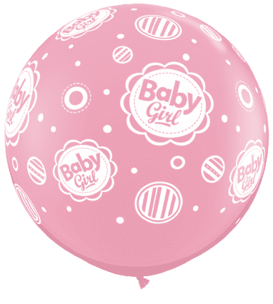 3' Pale Pink Baby Girl Dots Latex Balloons x 2