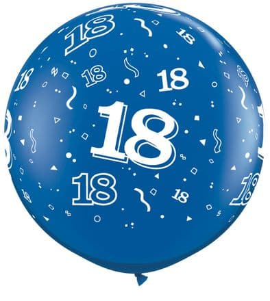 3FT Sapphire Blue  Age 18 Latex Balloons x 2