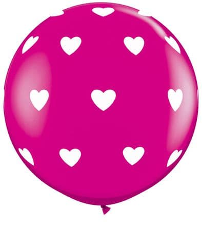3' Wild Berry Big Hearts-A-Round Latex balloons x 2