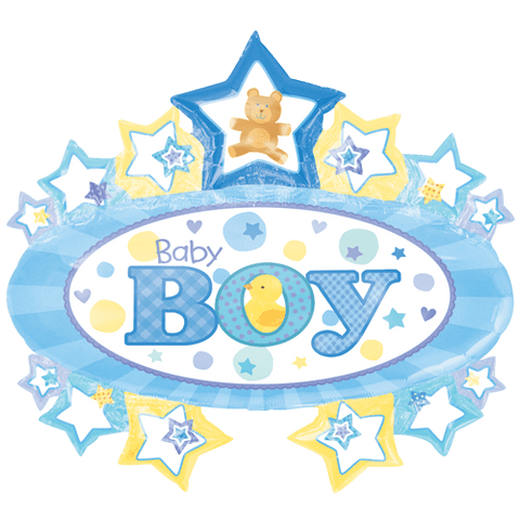 """31"""" Baby Boy Marquee SuperShape Foil Balloon"""