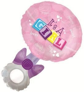 """36"""" T'S A GIRL RATTLE SHAPE-A-LOON"""