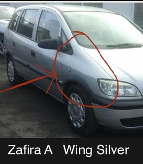 VAUXHALL  ZAFIRA   WING    SILVER. 2002. 2003. DRIVERS SIDE. Pre Owned