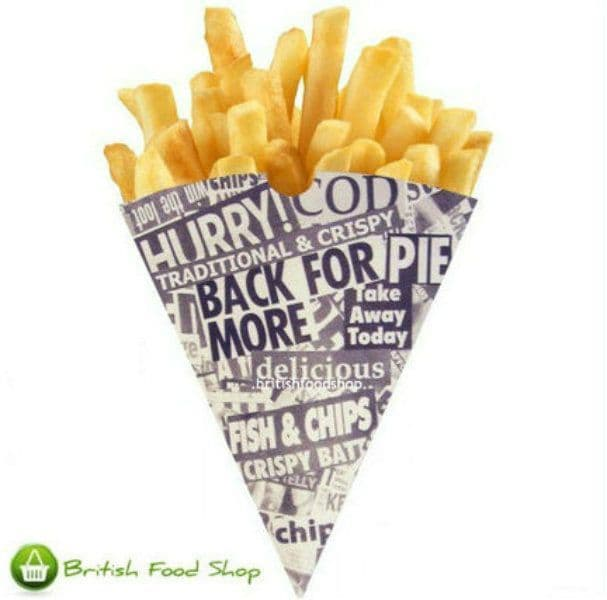 1000 News Print Newspaper Design Chip Shop Cones - Catering - Express delivery Available