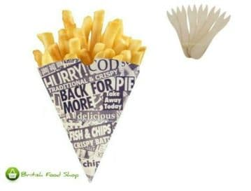 1000 Newspaper Print Chip Cones + 1000 Wooden Chip Shop Forks - Express delivery Available