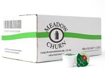 150 Meadow Churn UHT Semi Skimmed Milk 13.5ml Portions Jigger Pots Servings