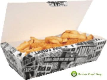25 Large Newsprint Fish & Chip Shop Box Fast Food Cardboard Takeaway Packaging