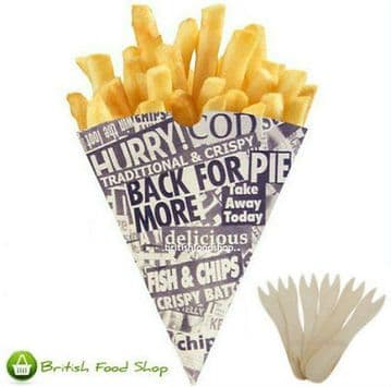 75 News Print Chip Shop Cones + 75 Wooden Chip Shop Forks - Party BBQ Catering