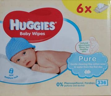 Huggies Pure 56 Wipes (Pack of 6)