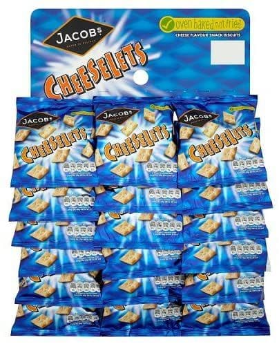 JACOBS CHEESELETS SNACKS 18 x 30g PACKETS ON A PUB CARD