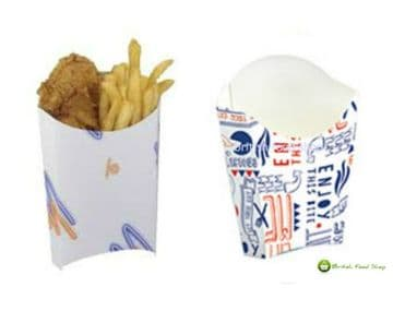 Large 7oz Disposable Takeaway Cardboard Chip Scoop Boxes - Fast Food Packaging