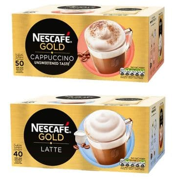 Nescafé GOLD Café Menu Sachets - Choose Cappuccino x 50 or Latte x 40 - Tracked Post!