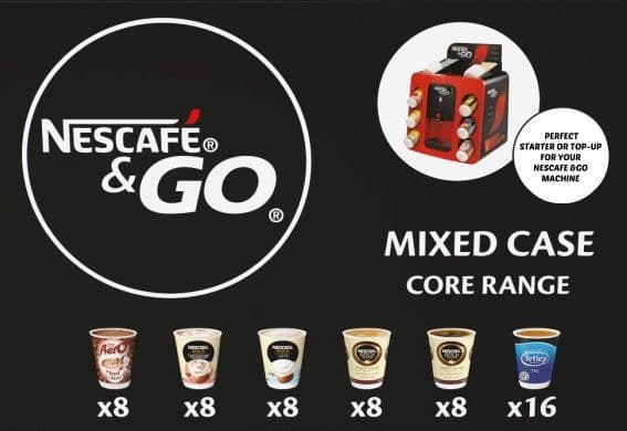 Nescafe &Go Variety Pack (56 Drink) 'Core Range' 5 x 8 Cups & 1 x 16 Cups